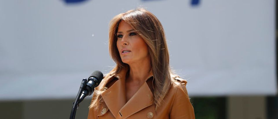 """Melania Trump delivers remarks at the """"launch of her initiatives"""" as first lady at the White House in Washington"""