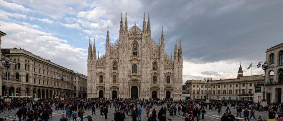 Piazza del Duomo in Milan, dominated by Milan Cathedral, contains some of the most important buildings in Milan such as the Royal Palace and the Víctor Manuel II Gallery. Italy 1 April 2018 (Photo by Oscar Gonzalez/NurPhoto via Getty Images)