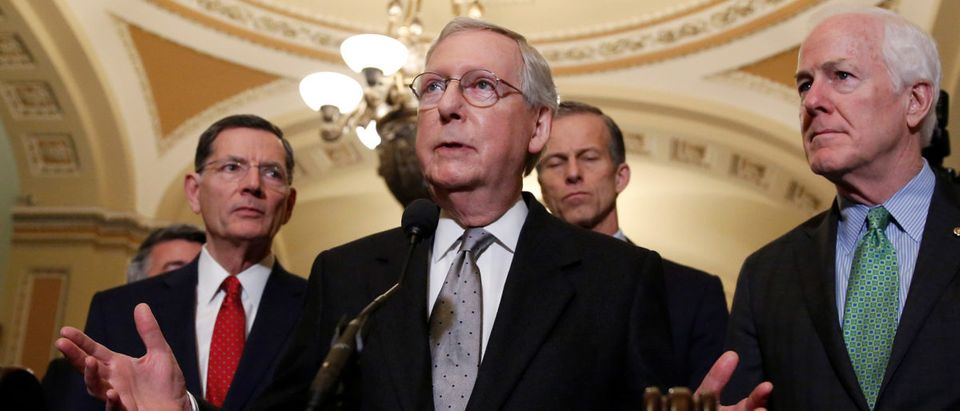 Senate Majority Leader Mitch McConnell speaks after the Republican policy luncheon on Capitol Hill in Washington, U.S., March 20, 2018. REUTERS/Joshua Roberts