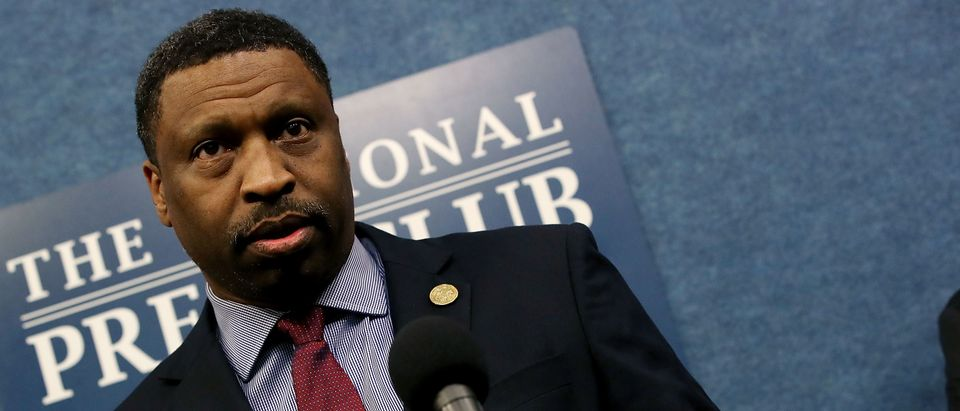 WASHINGTON, DC - MARCH 28: Derrick Johnson, President and CEO of the NAACP, speaks about a lawsuit filed against the Federal Government concerning the threat that the 2020 Census will undercount members of the African American community and other minorities across the nation, at the National Press Club on March 28, 2018 in Washington, DC. A government study found that the 2010 Census resulted in an undercount of 2.1 percent of African Americans and 1.5 percent of Hispanic Americans. (Photo by Mark Wilson/Getty Images)