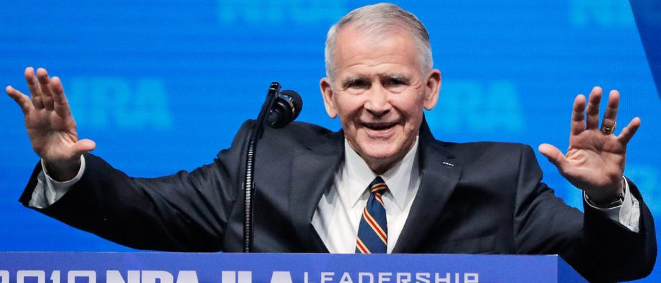 US Marine Corps Lt. Col. (Ret.) Oliver North speaks at an NRA convention in Dallas