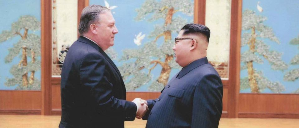 U.S. government handout photo shows CIA Director Mike Pompeo meeting with North Korean leader Kim Jong Un in Pyongyang