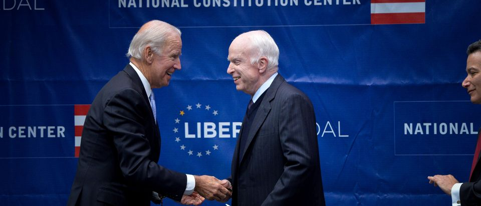 U.S. Senator McCain is awarded the 2017 Liberty Medal by former U.S. Vice President Biden at the Independence Hall in Philadelphia