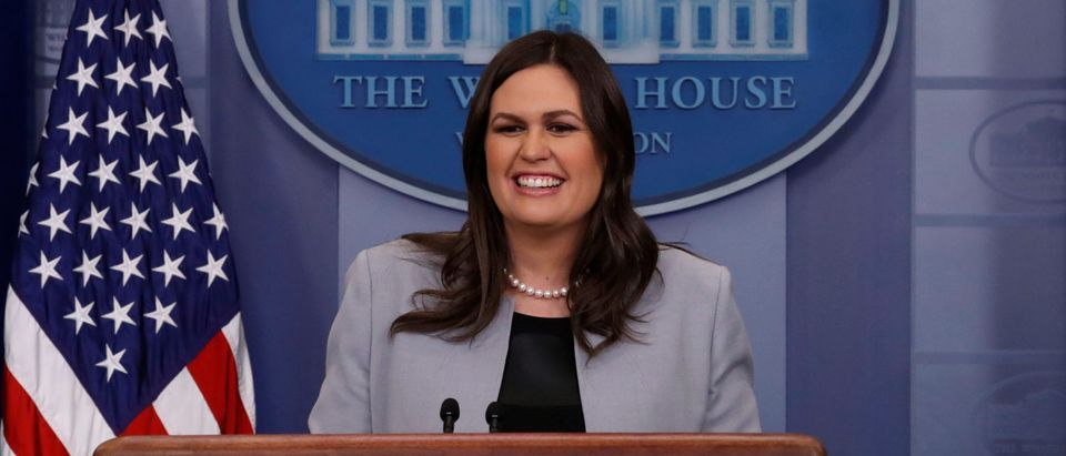 White House Press Secretary Sarah Huckabee Sanders takes questions during a daily briefing at the White House in Washington, March 7, 2018. REUTERS/Leah Millis
