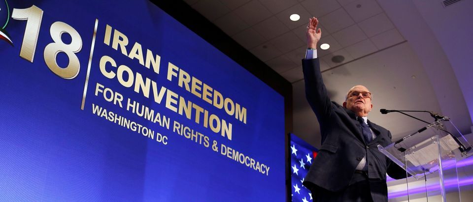 Former New York Mayor Rudy Giuliani speaks at the 2018 Iran Freedom Convention in Washington