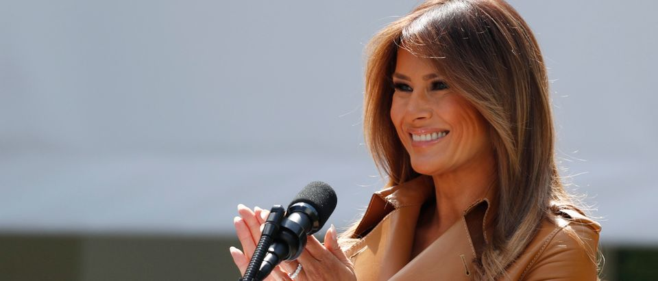 "Melania Trump delivers remarks at the ""launch of her initiatives"" as first lady at the White House in Washington"