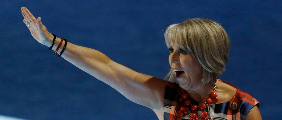 U.S. Representative Lujan Grisham waves after addressing the Democratic National Convention in Philadelphia