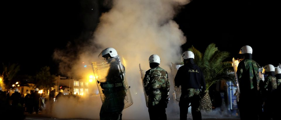 Clashes between refugees and groups of locals on the Greek island of Lesbos