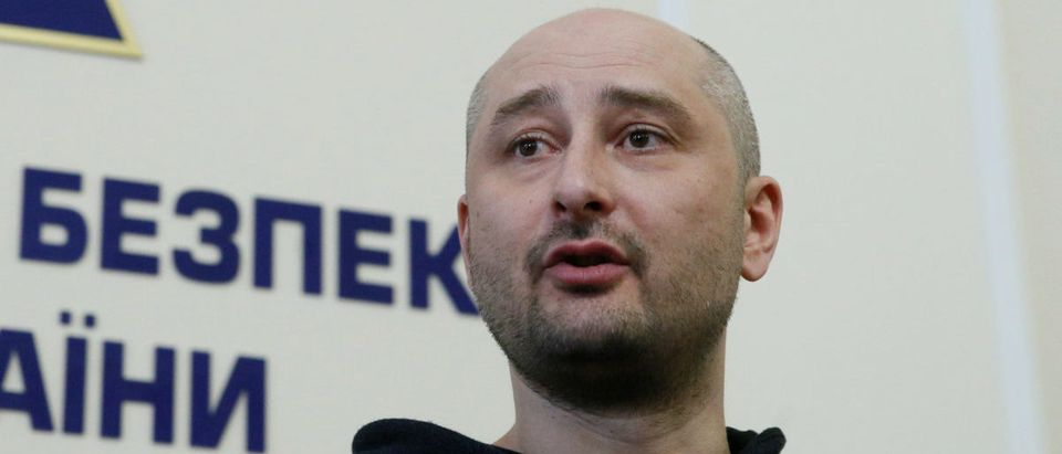 Russian journalist Babchenko, who was reported murdered in the Ukrainian capital on May 29, speaks during a news briefing by the Ukrainian state security service in Kiev