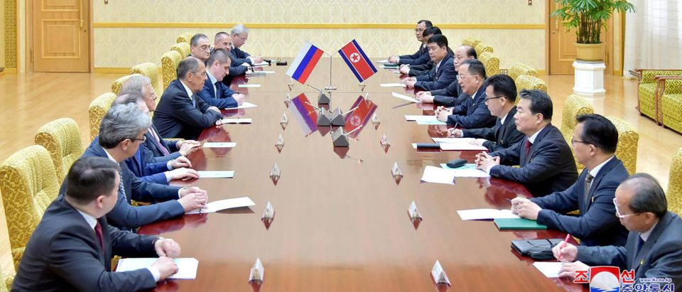 Russian Foreign Minister Sergei Lavrov meets with his North Korean counterpart Ri Yong Ho in Pyongyang, North Korea in this handout picture released by KCNA
