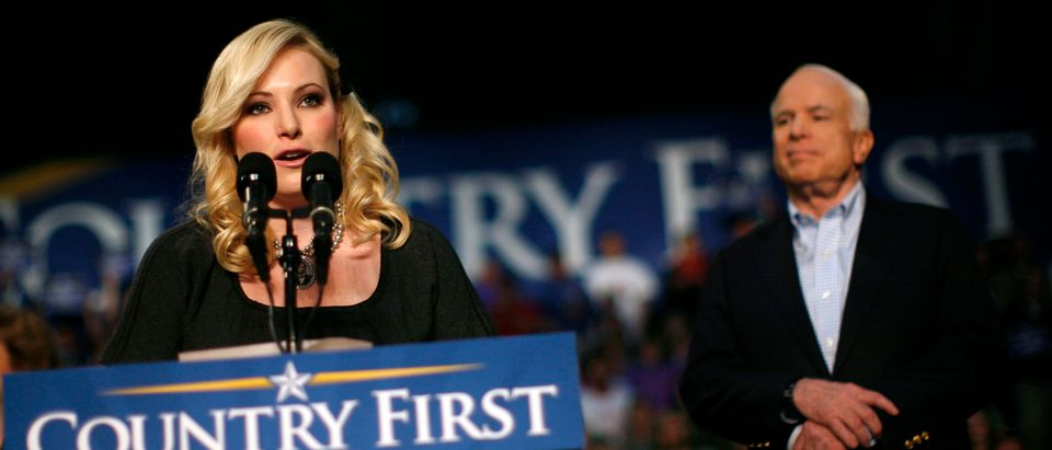 Meghan McCain introduces her father, U.S. Republican presidential nominee Sen. John McCain (R-AZ), during a rally in Westerville, Ohio