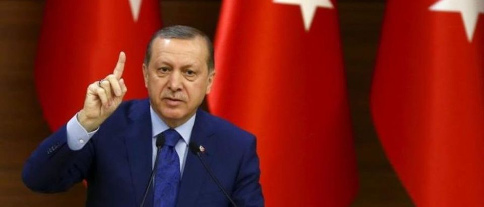 Turkish president Recep Tayyip Erdogan gives speech at Presidential Palace. (Photo: REUTERS) | A Republican senator is calling on the Turkish government to follow the lead of North Korea's regime and release an American pastor being held hostage in the NATO nation.