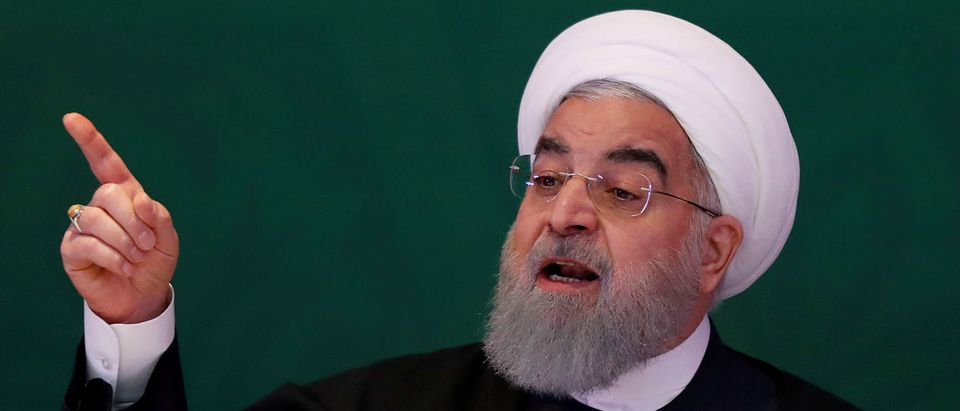 Iranian President Hassan Rouhani speaks during a meeting with Muslim leaders and scholars in Hyderabad, India, February 15, 2018. REUTERS/Danish/File Photo