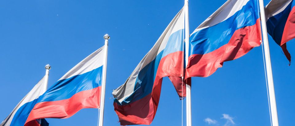 Russian Flag waving in the wind (Credit: Shutterstock)