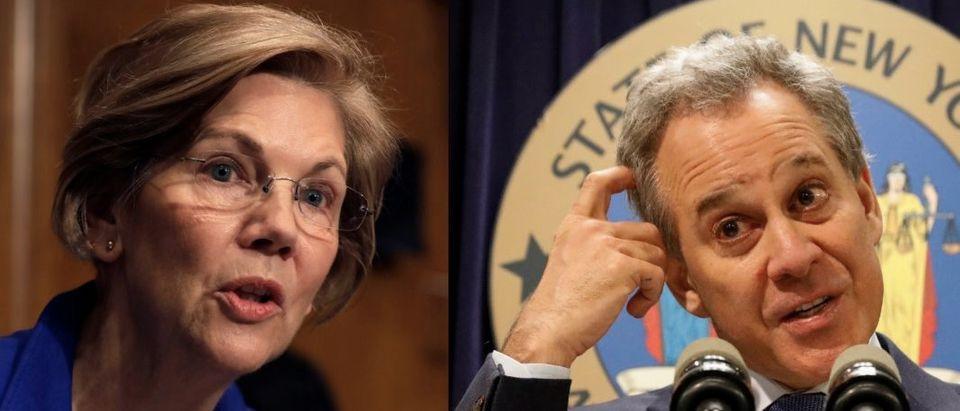 Screen Shot Elizabeth Warren / Eric Schneiderman (Reuters)