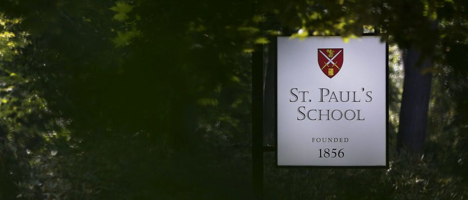 A sign marks the entrance to St. Paul's School in Concord