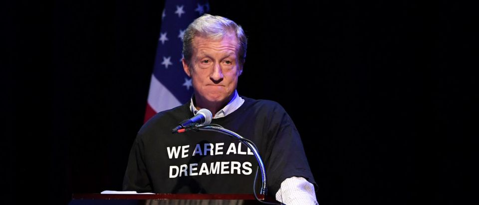 "Steyer speaks during the ""People's State of the Union"" event in Manhattan"