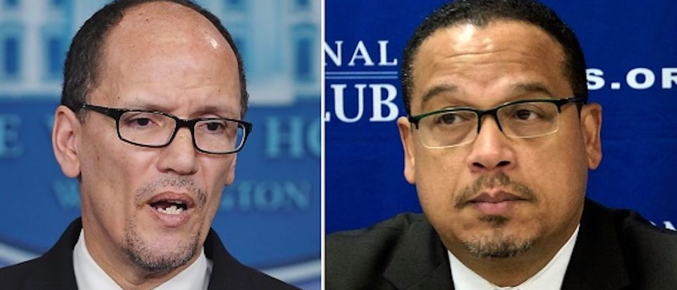 (FILES): These two file photos show then Labor Secretary Thomas Perez (L) speaking to reporters about the minimum wage for federal contractors at the White House in Washington, DC, on Feburary 12, 2014; and Minnesota Democratic Congressman Keith Ellison (R) during a press conference about Islamophobia at the National Press Club on May 24, 2016 in Washington, DC. US Democrats, licking their wounds from last year's election debacle, will pick a new leader on February 25, 2017 to take the fight to President Donald Trump and his Republicans. The race to chair the Democratic National Committee (DNC) features front-runners Tom Perez, a Hispanic-American and former secretary of labor under Barack Obama who is the establishment pick, and Keith Ellison, a black Muslim congressman from the party's progressive wing who has left open the prospect of pushing to impeach Trump. / AFP / Mandel NGAN AND Brendan SMIALOWSKI (Photo credit should read MANDEL NGAN,BRENDAN SMIALOWSKI/AFP/Getty Images) | Tom Perez Ripped Endorsing Cuomo Primary