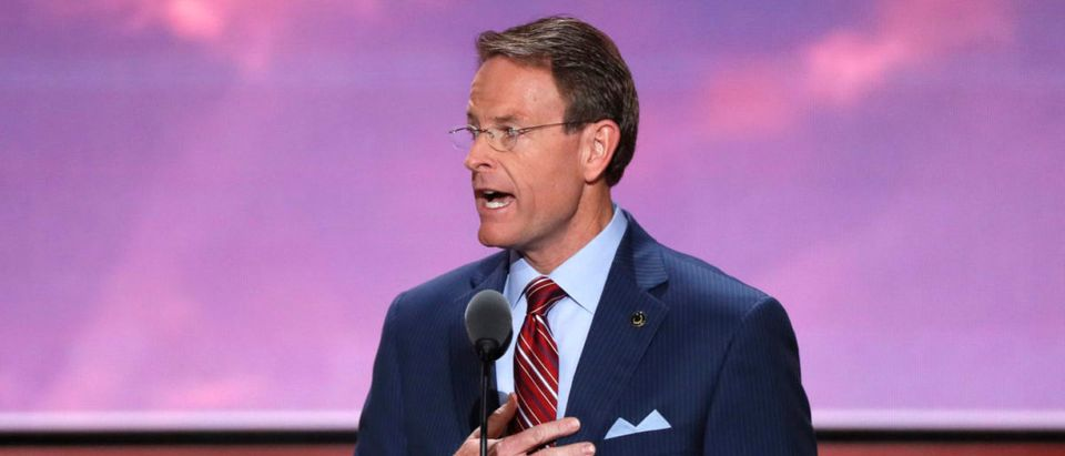 Tony Perkins of the Family Research Council leads the U.S. Pledge of Allegiance at start of the final day of the Republican National Convention in Cleveland, Ohio, U.S. July 21, 2016. REUTERS/Mike Segar   Tony Perkins Becomes USFIRC Commissioner