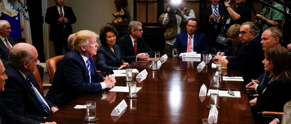 U.S. President Donald Trump meets with chief executives of major U.S. and foreign automakers at the White House in Washington, U.S. May 11, 2018. REUTERS/Jonathan Ernst