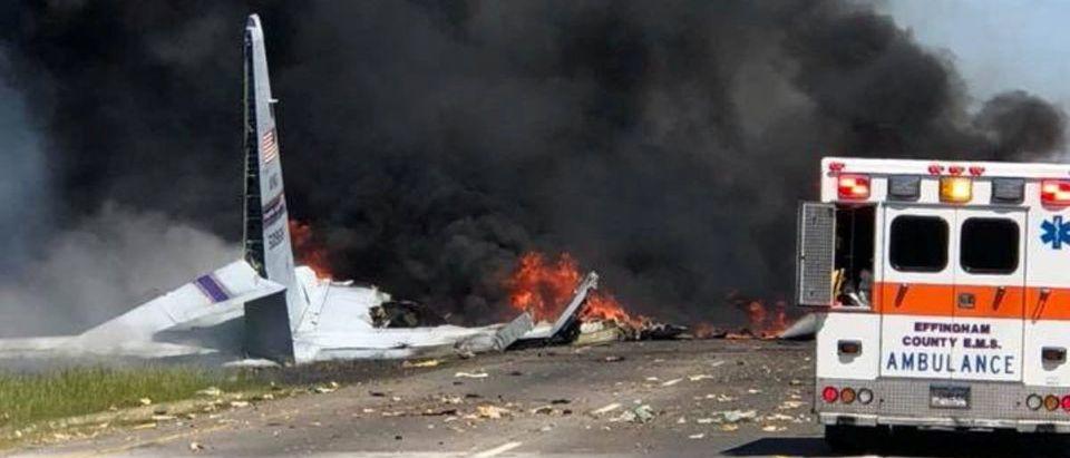 The military plane crash site is seen in Savannah