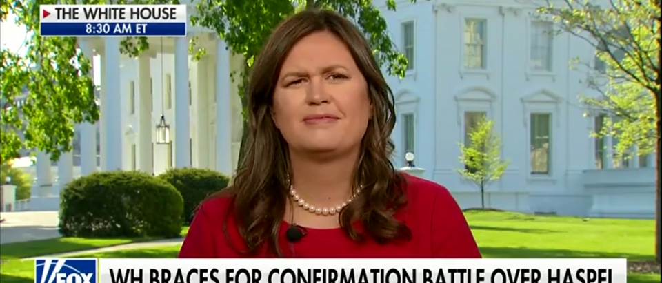 """White House press secretary Sarah Sanders turned the other cheek on """"Fox & Friends"""" Thursday and responded to criticism from comedian Michelle Wolf by wishing her a happy life. (Photo: Fox & Friends 5-3-18/ Screenshot/Fox News)"""