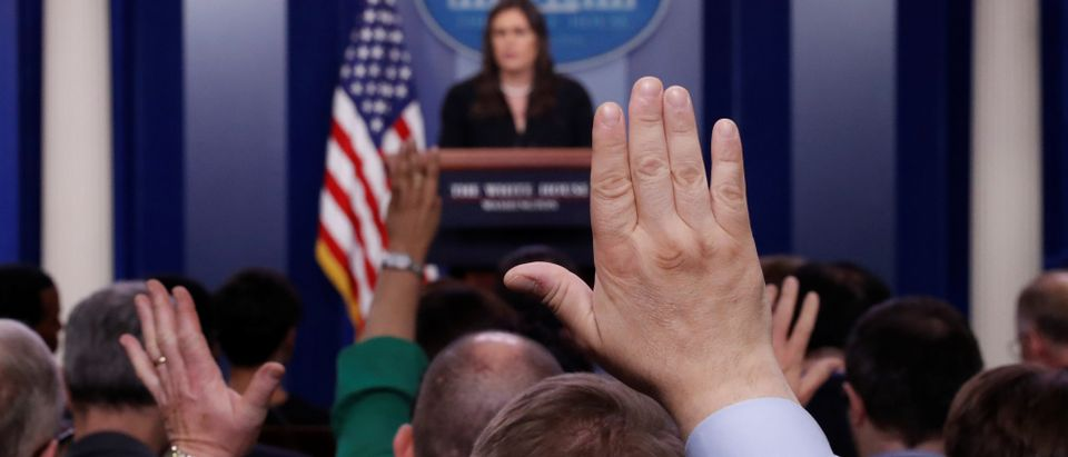 White House Press Secretary Sarah Huckabee Sanders holds a daily briefing at the White House in Washington