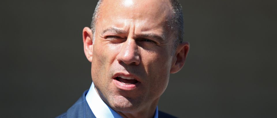 Michael Avenatti, lawyer for adult-film actress Stephanie Clifford, also known as Stormy Daniels, speaks to the media outside the U.S. District Court for the Central District of California after hearing regarding Clifford's case against Donald J. Trump in Los Angeles, California, April 20, 2018. REUTERS/Lucy Nicholson - HP1EE4K1DAHUT