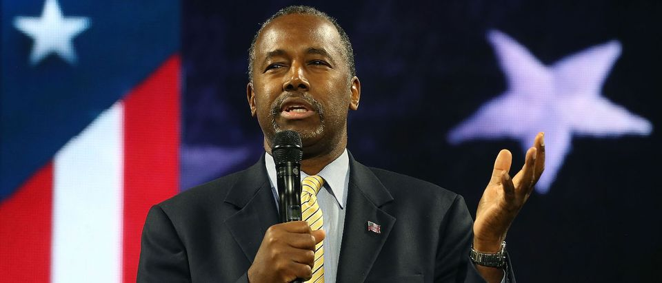 LYNCHBURG, VA - NOVEMBER 11: US Republican President candidate Dr. Ben Carson speaks at Liberty University, on November 11, 2015 in Lynchburg, Virginia. Today the US Secret Service has started protecting the former neurosurgeon who currently one of the leaders in the GOP primary field. (Photo by Mark Wilson/Getty Images)