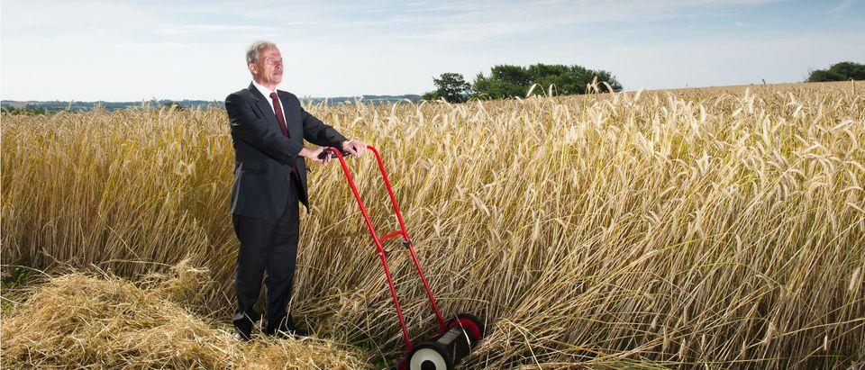 Businessman pushing a mower in wheat field (Photo: Shutterstock/Instudio 68)