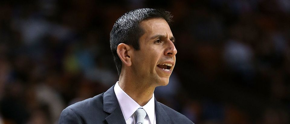 Head coach James Borrego of the Orlando Magic looks on during a game against the Miami Heat at American Airlines Arena on April 13, 2015 in Miami. (Photo by Mike Ehrmann/Getty Images)