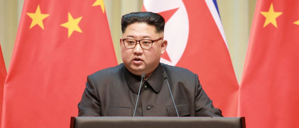 North Korean leader Kim Jong Un makes a speech during a visit to Dalian, China in this undated photo released on May 9, 2018 by North Korea's Korean Central News Agency (KCNA)