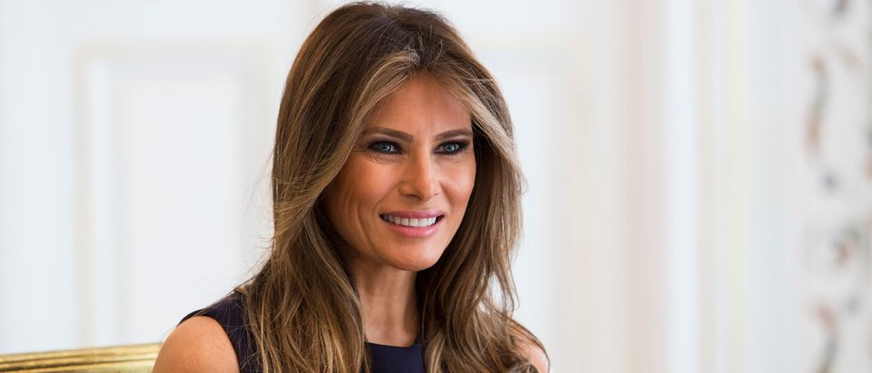 First Lady Melania Trump is pictured during a meeting with Polish President's wife Agata Kornhauser-Duda (Unseen) at the Belvedere Palace in Warsaw on July 6, 2017. US President Donald Trump is on his first visit behind the former Iron Curtain. He is expected to focus largely on defence in talks with Baltic, Balkan and central European leaders. / AFP PHOTO / ANDRZEJ HULIMKA (Photo credit should read ANDRZEJ HULIMKA/AFP/Getty Images)