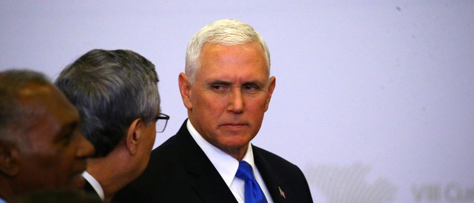 U.S. Vice President Mike Pence attends the family photo of the VIII Summit of the Americas in Lima, Peru April 14, 2018. REUTERS/Ivan Alvarado - RC1957B8ED80