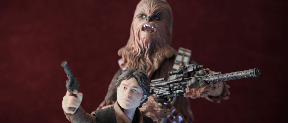 Portrait of prequel era Han Solo and his Wookiee sidekick Chewbacca from the movie Solo: A Star Wars Story - Hasbro Black Series 6 inch action figures [Shutterstock: