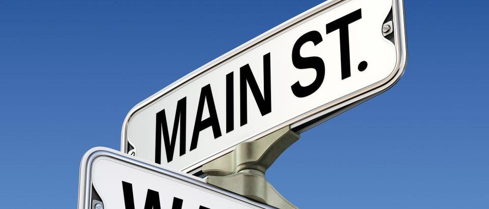 Main Street vs. Wall Street sign, Shuttertsock