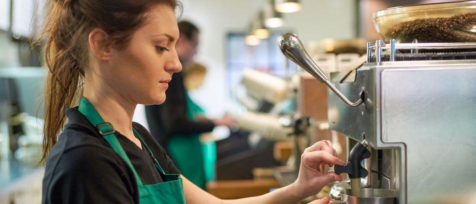 Starbucks barista, Shutterstock
