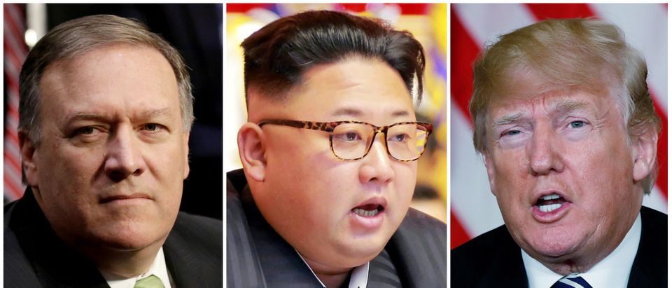 A combination photo shows Mike Pompeo (L) in Washington, North Korean leader Kim Jong Un (C) in Pyongyang, North Korea and U.S. President Donald Trump (R), in Palm Beach, Florida, U.S., respectively from Reuters files. REUTERS/Yuri Gripas