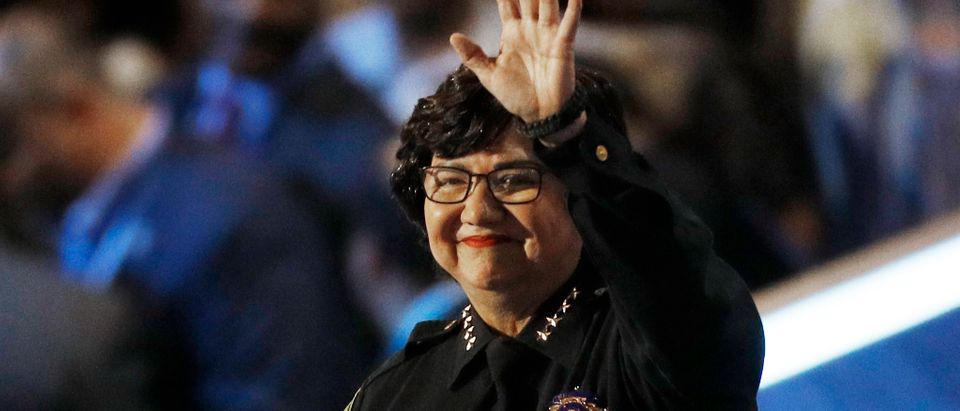 Dallas Sheriff Lupe Valdez takes the stage at the Democratic National Convention in Philadelphia, Pennsylvania, U.S. July 28, 2016. REUTERS/Scott Audette - HT1EC7T02AS53