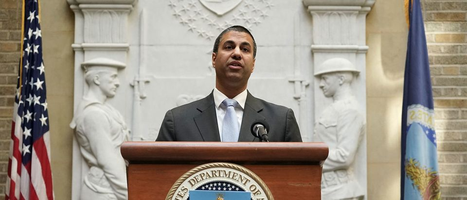 "WASHINGTON, DC - APRIL 18: Federal Communications Commission Chairman Ajit Pai speaks during a forum April 18, 2018 in Washington, DC. FCC Chairman Pai and U.S. Secretary of Agriculture Secretary Sonny Perdue participated in an Agriculture Department forum to discuss ""improving e-connectivity in rural America."" (Photo by Alex Wong/Getty Images)"