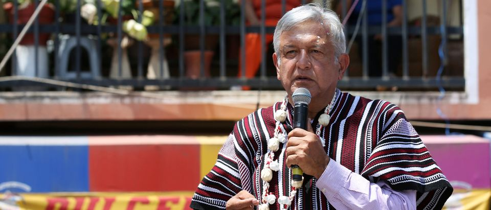 Andrés Manuel López Obrador speaks at a campaign rally in Mexico (Reuters, 06/22/18)