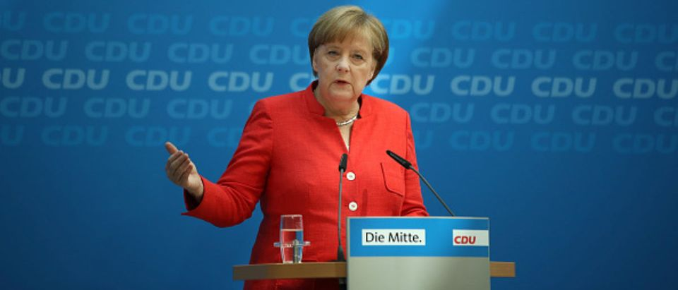 German Chancellor and leader of the German Christian Democrats (CDU) Angela Merkel speaks to the media following two days of talks amongst the CDU leadership at CDU headquarters on June 18, 2018 in Berlin, Germany. Merkel has been locked a fued with German Interior Minister and head of the Bavarian sister party to the CDU, the Bavarian Christian Democras (CSU), Horst Seehofer over asylum and migration policy. (Photo by Sean Gallup/Getty Images)