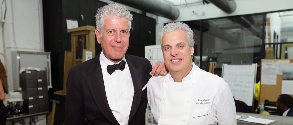 MIAMI BEACH, FL - FEBRUARY 21: Chefs Anthony Bourdain (L) and Eric Ripert attend Ocean Liner dinner hosted by Anthony Bourdain, Frederic Morin, David McMillan, Andrew Carmellini, Eric Ripert, Daniel Boulud and Francois Payard during the Food Network South Beach Wine & Food Festival at Wolfsonian on February 21, 2014 in Miami Beach, Florida. (Photo by Neilson Barnard/Getty Images for Food Network SoBe Wine & Food Festival)