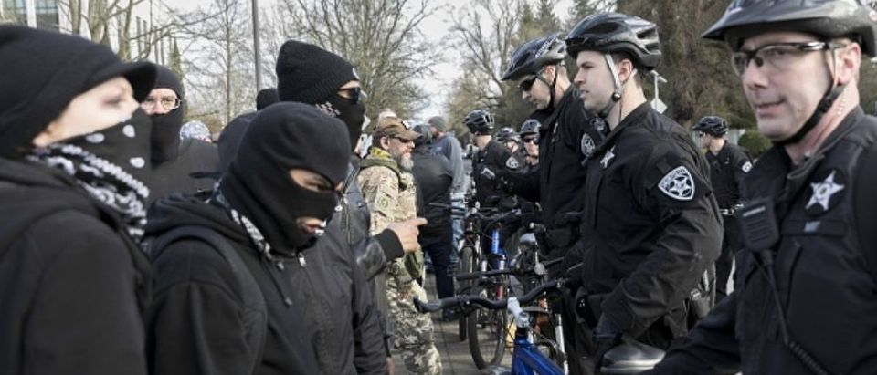 SALEM, USA - MARCH 4, 2018 : Antifa protesters, officially recognized as a domestic terrorist organization, gather in Salem to protest PResident Donald Trump. (Photo by John Rudoff/Anadolu Agency/Getty Images)