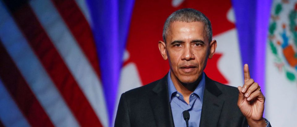 Former U.S. President Barack Obama speaks during the North American Climate Summit in Chicago
