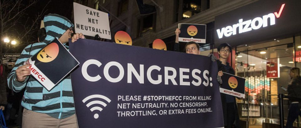 Demonstrators Protest The FCC Plan To Rollback Net Neutrality Regulations