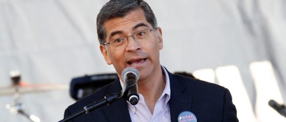 California Attorney General Xavier Becerra speaks at the second annual Women's March in Los Angeles, California, U.S. January 20, 2018. REUTERS/Patrick T. Fallon