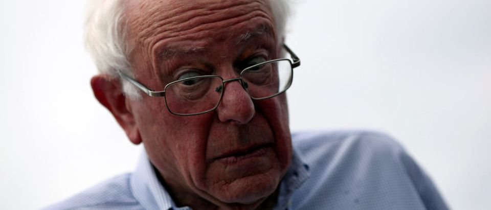 U.S. Senator Bernie Sanders reacts while visiting a neighbourhood with San Juan Mayor Carmen Yulin Cruz (not pictured) after Hurricane Maria hit the island in September, in San Juan, Puerto Rico October 27, 2017. REUTERS/Alvin Baez