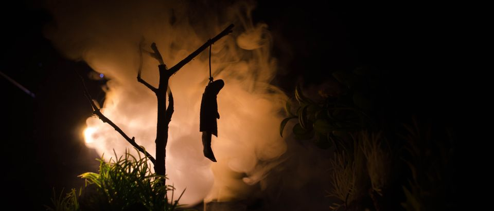 Horror view of hanged girl on tree at evening (at night) Suicide decoration. Death punishment executions or suicide abstract idea. Different background decoration. Ilkin Zeferli/Shutterstock