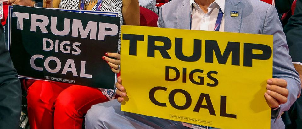 Delegates from West Virginia, hold up signs from the floor of the Quicken Arena saying that Trump digs coal during the Republican National Nominating Convention - ShutterStock -- Mark Reinstein